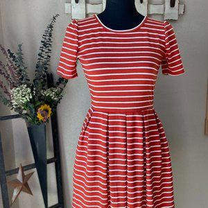 Lularoe Nicole Salmon & White Stripes XS